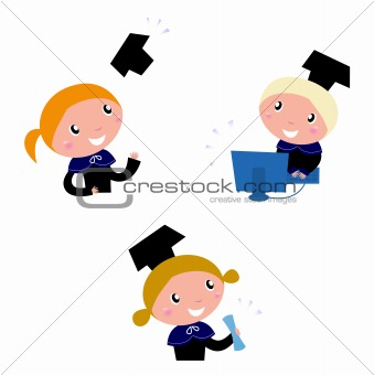 Cute graduation Kids collection isolated on white