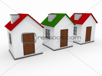 3d house home red green