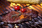 closeup of a steak on a grill
