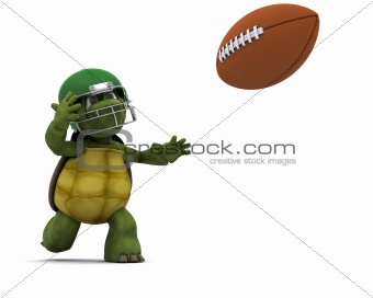 Tortoise throwing an american football
