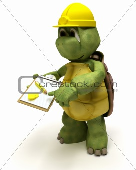 tortoise builder receiving a parcel