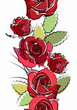 Seamless  border with red roses
