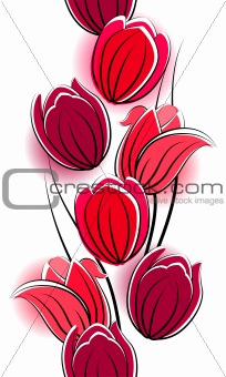 Seamless border with red tulips