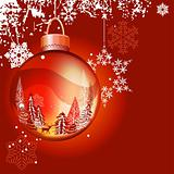 Christmas background with glass ball