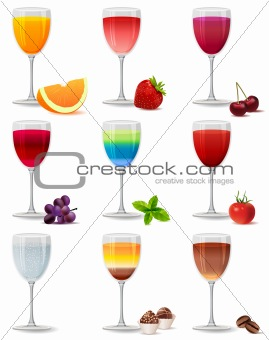 Different cocktails and juices isolated
