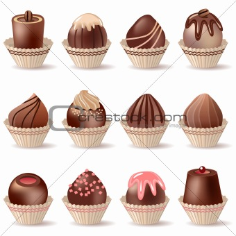 Collection of different sweets isolated