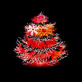 Christmas tree  made of contour snowflakes