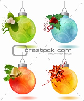 Different christmas glass balls isolated on white