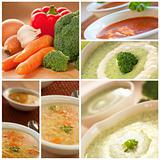 Vegetables soup collage