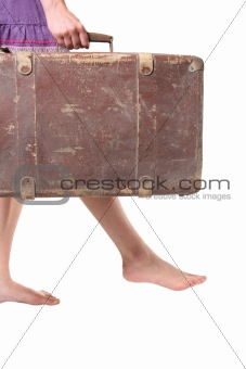 woman with ancient suitcase