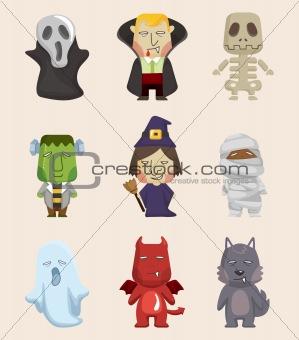 Cartoon Halloween monster icons