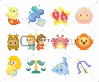 Set of isolated cute zodiac symbols
