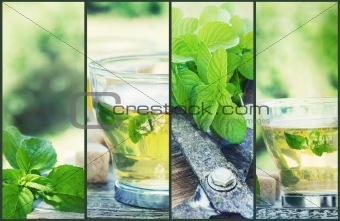 Mint tea collage