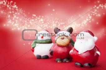 Santa, Rudolph and Snowman