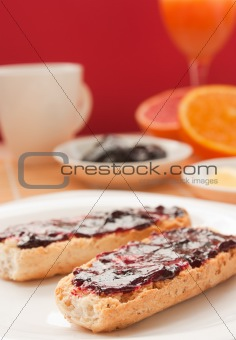 Breakfast with butter and jam