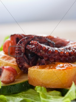Baked octopus with vegetables