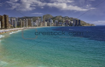Panoramic view of Levante beach in Benidorm