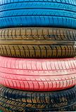 Colored old tires