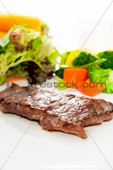 juicy BBQ grilled rib eye ,ribeye steak and vegetables