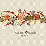 Autumn vector background with leaves and berries