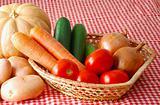 Mix of autumn vegetables on farmer market