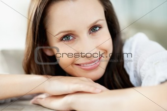 Closeup portrait of a relaxed young woman