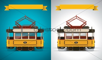 Vector retro tram XXL icon