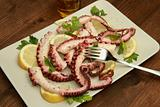 octopus salad with lemon slice