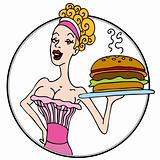 Old Fashioned Diner Waitress Serving Hamburger