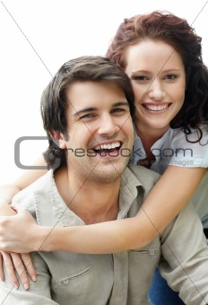 Portrait of a cute young romantic couple
