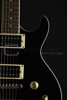 Black Electric Guitar on Black