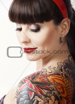 Vintage woman with a tattoo
