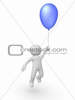 3d man with a balloon