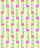 Floral vector seamless straight pattern with flowers.