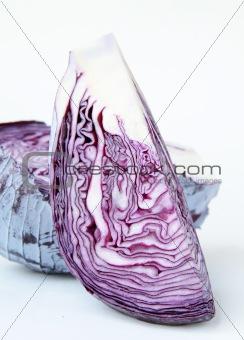 slice of fresh raw organic red cabbage