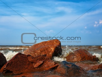 water splashes at sea