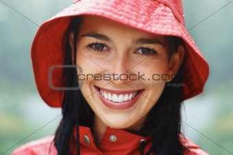 Woman wearing raincoat