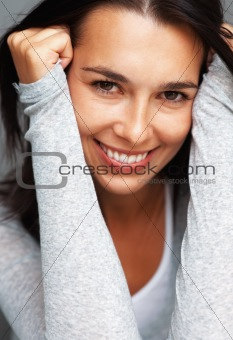 Closeup of woman smiling and leaning
