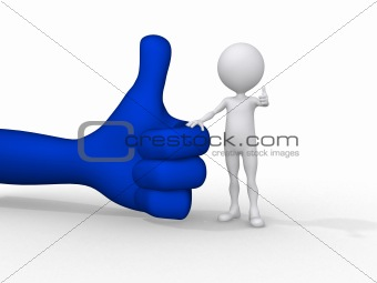 3d small people holding on a positive symbol, 3d image