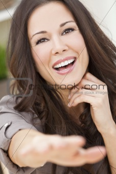 Happy Smiling Beautiful Woman Reaching to Camera