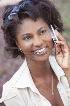 Happy African American Woman Talking on Cell Phone