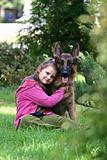 The girl and a German shepherd