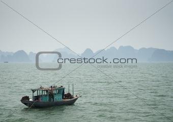 boat on halong bay in vietnam