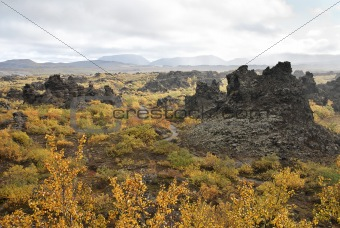 volcanic landscape in iceland interior
