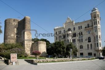 central baku azerbaijan with maidens tower landmark