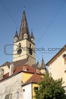 church spire in sighisoara romania