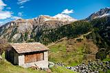 vals village in switzerland alps landscape