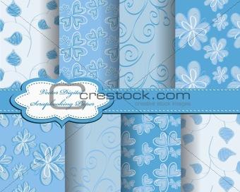 set of flower vector paper for scrapbook