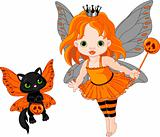 Cute Halloween baby fairy and cat
