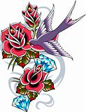 bird and rose ribbon banner